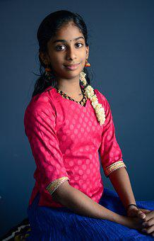 Beautiful, Young, Indian, Girl, Portrait, Female