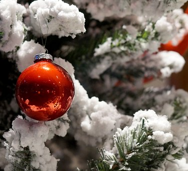 Christmas, Christmas Tree, Snow, Ball, Red Ball