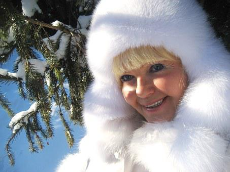 Winter, Woman, Christmas Tree, City Park, Person