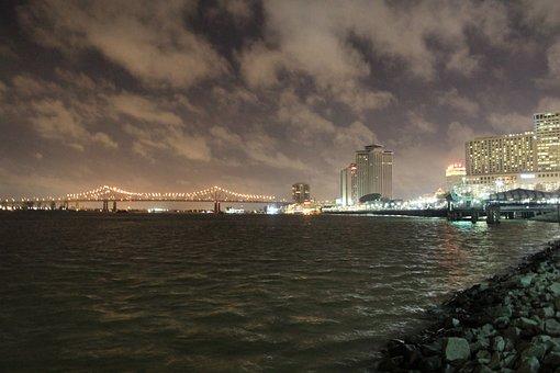 New Orleans, Nola, Mississippi, Night, Bridge, City