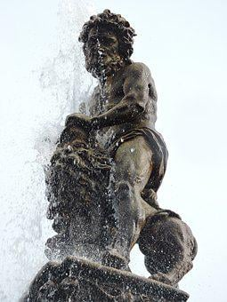Fountain, Czech Budejovice, Statue, Samson, The Lion