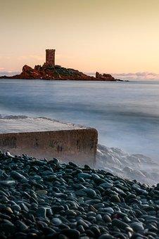 Dramont, Boulouris, Sunset, Golden Lion, Sea, Landscape