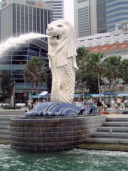 Singapore, Lion, Fountain, Water, Asia
