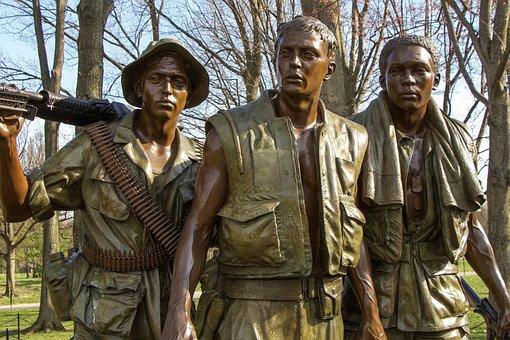 Vietnam Memorial, Soldiers, Bronze, Monument, Sculpture