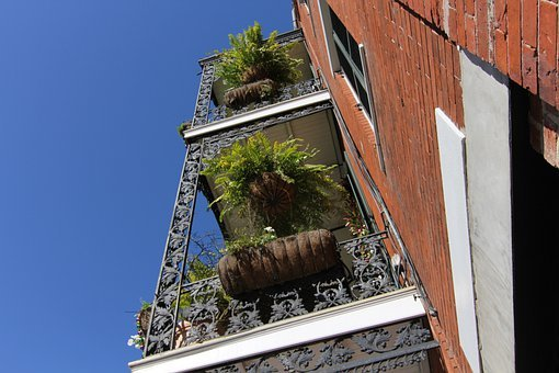 New Orleans, Nola, Sky, Architecture, Balcony, Brick
