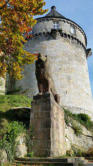 Castle Tower, Statue, Lion, Autumn, Stone Figure