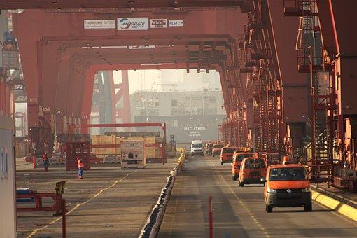 Harbour Cranes, Port, Hamburg, Cargo, Charge, Delete
