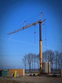 Crane, Baukran, Site, Construction Work, Boom