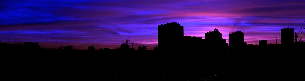 Panorama, Sunset, Clouds, Summer, Landscape