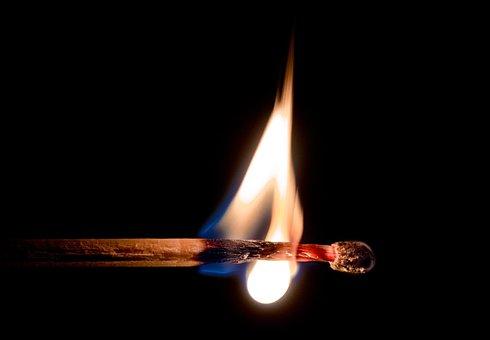 Match, Lit Match, Fire, Flame, Glow, Wood, Matchstick