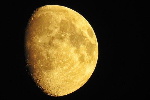 Moon, Moon Craters, Night, Moonlight, Satellite