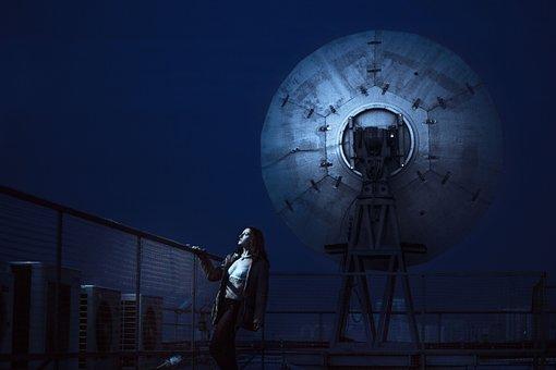 Girl, Satellite Dishes, Antennas, Night, Lattice