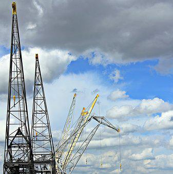 Harbour Cranes, Sky, Clouds, Blue Sky, Industry, Port