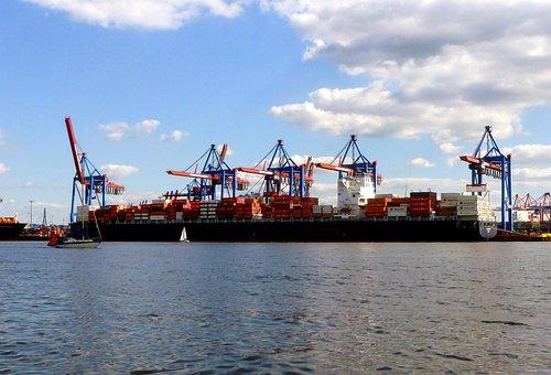 Port Of Hamburg, Blue Sky, Clouds