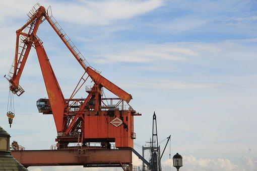 Crane, Container Crane, Old, Transport, Harbor, Port