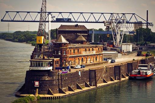 Port, Inland Port, Water, Crane, Ship, Rhine, Cargo