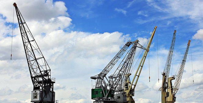 Harbour Cranes, Sky, Clouds, Blue Sky, Industry, Port