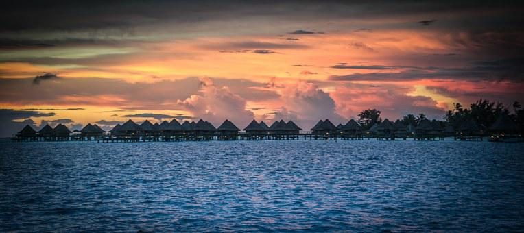 Bora Bora, Sunset, French Polynesia, South Pacific, Sea