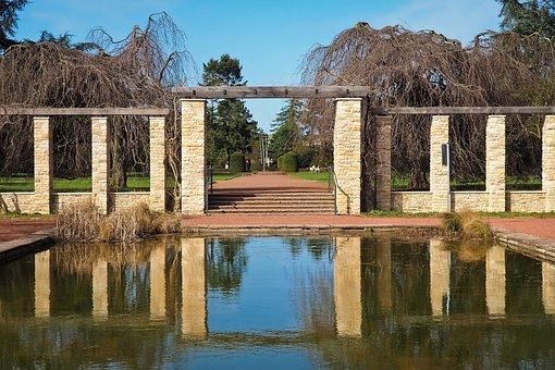 Architecture, Patio, Columnar, Stone Pillars, Pond