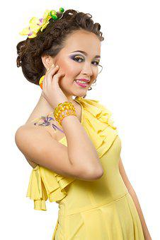 Girl, Yellow, Dress, Makeup, Youth, Hairstyle