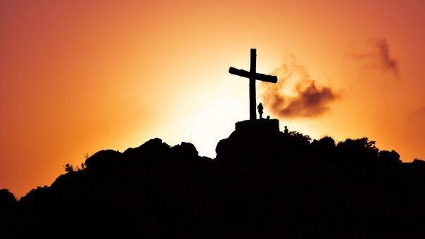 Cross, Hill, Sunset, Shadows, Religion, Christianity