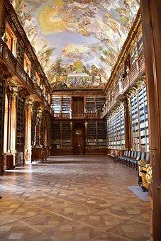 Library, Historical, Fresco, Painting, Light, Prague