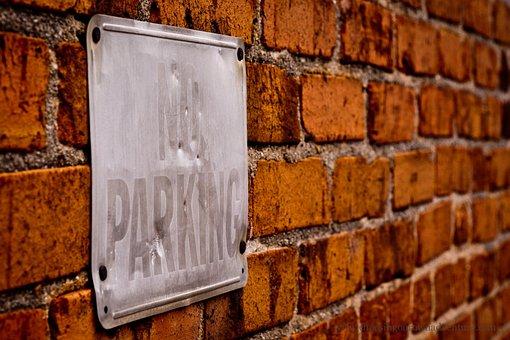 No Parking, Sign, Brick, Building, No, Parking, Symbol