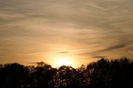 Sun, Sunset, Landscapes, Sky, Abendstimmung, Clouds