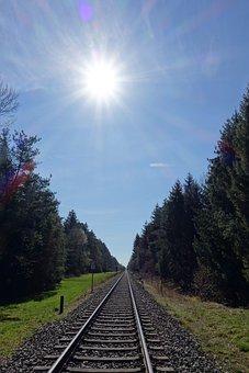 Sun, Sky, Blue, Rays, Track, Rail Track