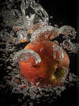 Apple, Water, Splash, Inject