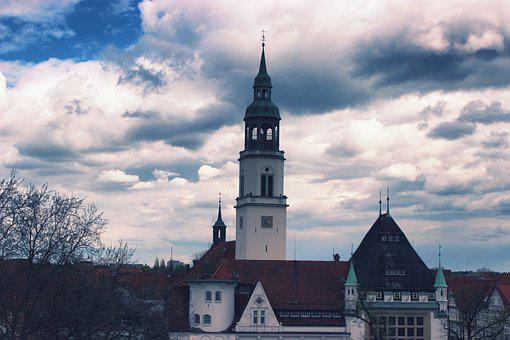 Sky, Clouds, Church, Steeple, Moody, Blue, Nature