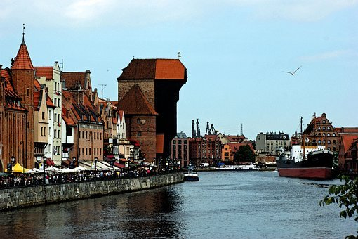 Watercolor, Gdańsk, Old Town, Crane, The Old Town