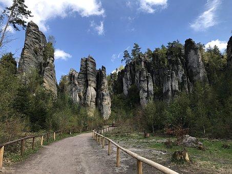 Rock Town, Rock, Mountain, Away, Trees, Landscape