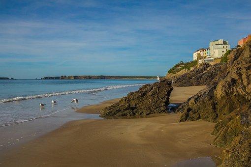 Coast, Bay, Low Tide, Ocean, Wales, England