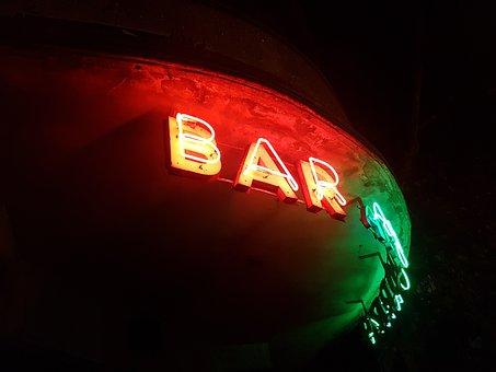 Bar, Night, Cocktail, Neon
