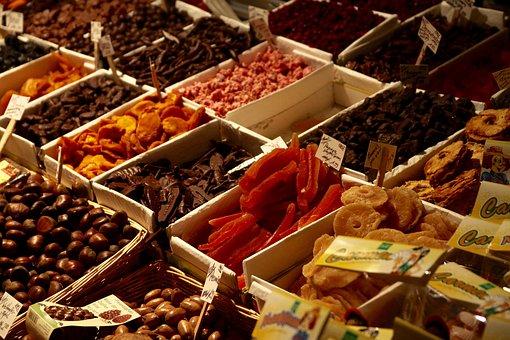 Dried Fruit, Sweet Chestnuts, Market, Oriental