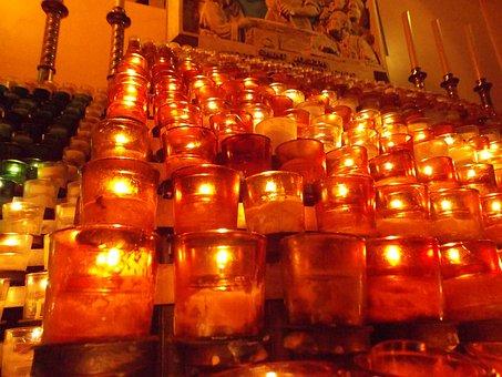 Oratoire St Joseph, Candles, Altar, Candlestick, Fire