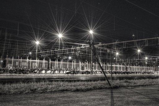 Station, Lighting, Evening, Night, Hdr, Sweden, Spring
