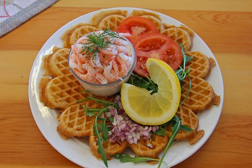Lunch, Meal, Prawn, Shrimp, Lemon, Pancake, Tomato