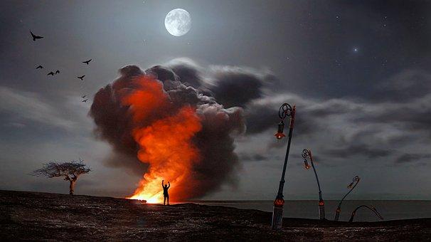 Fire, Smoke, Moon, Night, Flame, Burn, Night Photograph