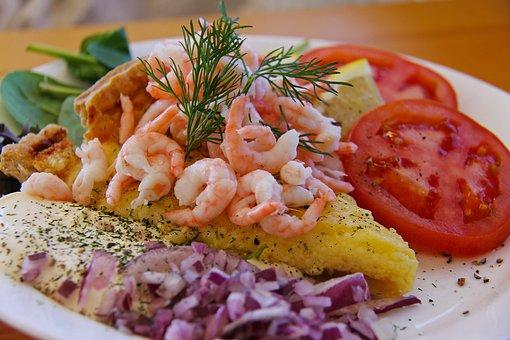 Shrimp, Lunch, Meal, Prawn, Lemon, Pancake, Tomato