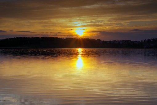 Sunset, Water, Lake, River, Sea, Pond, Evening, Glow
