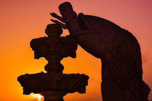 Jonah, Prophet, Fountain, Sculpture, Sunset