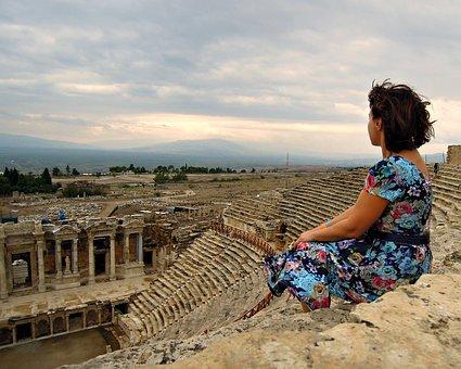 Woman, Sitting, Amphitheater, Views, Girl, View