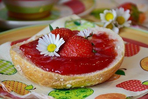 Breakfast, Roll, Have Breakfast, Strawberries, Jam
