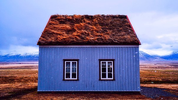 Iceland, Cottage, House, Home, Remote, Thatched Roof