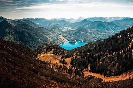 Germany, Landscape, Mountains, Lake, Forest, Trees