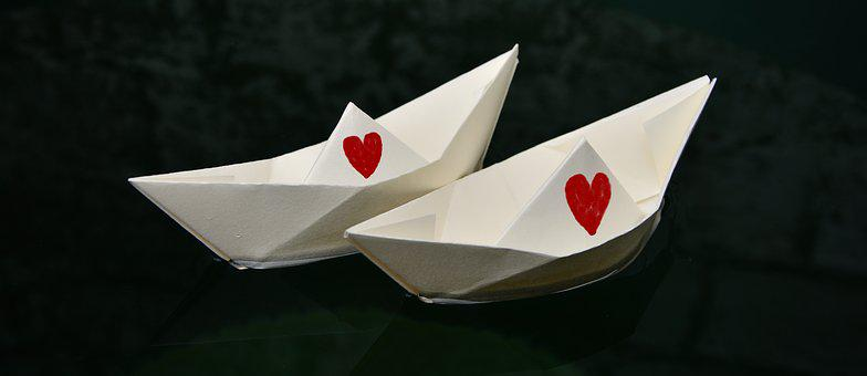 Paper Boat, Paper, Folded, Heart, For Two, Marry