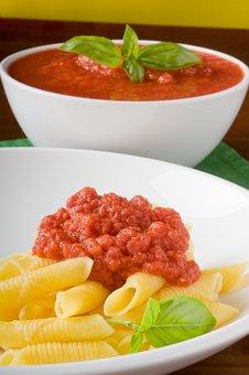 Pasta, Tomato, Basil, Bolognese, Close-up, Cuisine