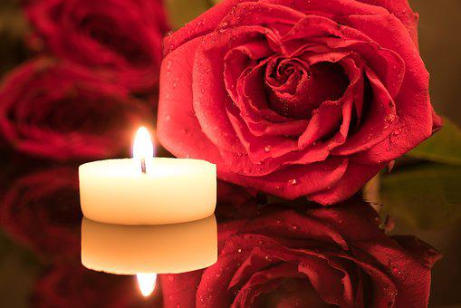 Candle, Red Rose, Candlelight, Rose, Drop Of Water